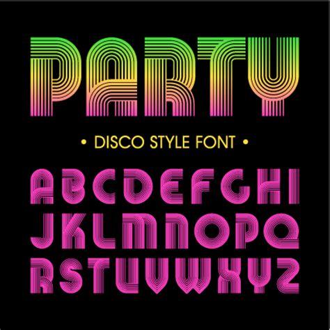 disco party alphabet fonts vector  vector font
