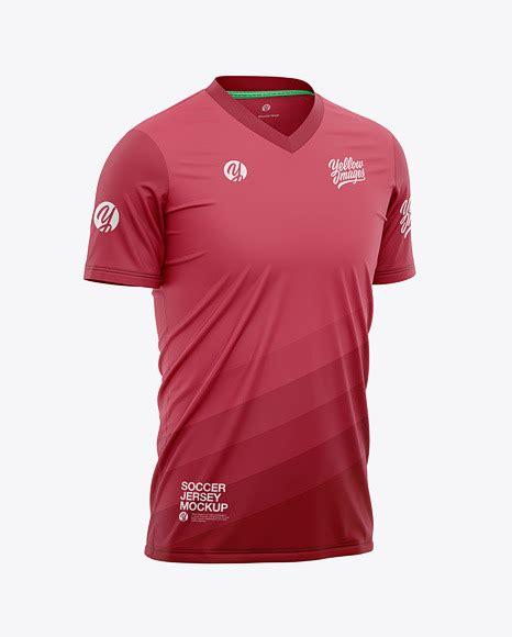 Mens soccer jersey mockup (back half side view) 16929 tif. Download Mens Full Soccer Kit With V Neck Jersey Mockup ...