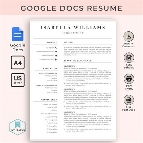 Resume Templates Word Google Docs   Resume Template