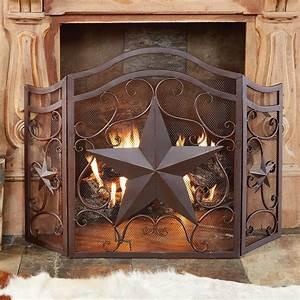 Lone, Star, U0026, Scroll, Fireplace, Screen