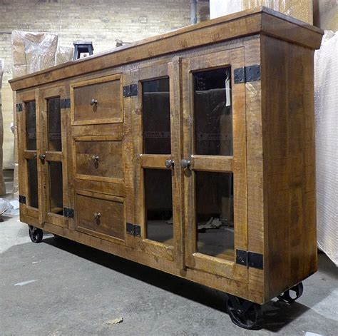 Sideboards With Glass Doors by Industrial Buffet With Glass Doors And Metal Accents