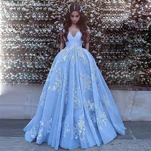 Gorgeous light blue off the shoulder ball gown prom dress for Blue dresses to wear to a wedding