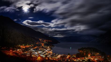 city cityscape night lights  zealand landscape