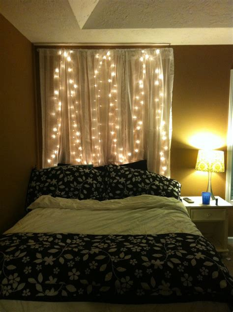 diy curtain headboard  christmas lights home