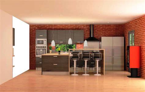 meuble alinea cuisine cuisine équipée bois foncé avec comptoir style quot cuisine américaine quot meuble et décoration