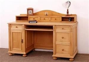 Bureau En Pin : bureau en pin 7 tiroirs 2 niches 1 tablette coulissante 1 porte sur mesure meuble ~ Teatrodelosmanantiales.com Idées de Décoration