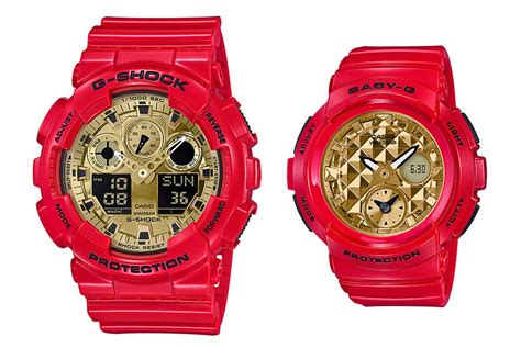 gshock dual time g shock dresses the ga 100 and baby g bga 195 in matching