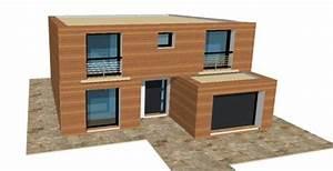 p 20 nouveaux modeles concept et toit terrasse maisons With maison bois toit terrasse