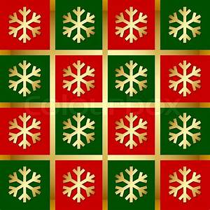 Golden snowflake pattern on red, green and gold background ...