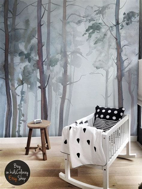 nature forest wall mural peel  stick gloomy trees