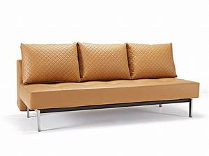 Deluxe contemporary camel leather sofa bed buffalo new for Sofa bed no mattress