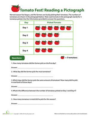 reading pictographs tomato fest worksheet educationcom