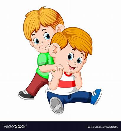 Brother Playing Boy Vector Together Vectorstock