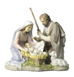 baby jesus mary  joseph nativity color sculpture