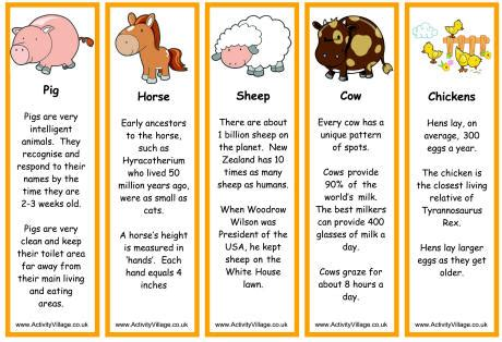 Farm Animal Bookmarks - Facts