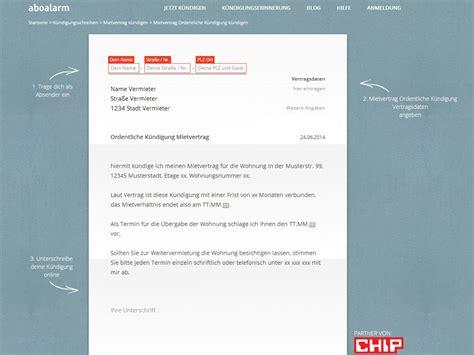 kuendigung mietvertrag vorlage  chip