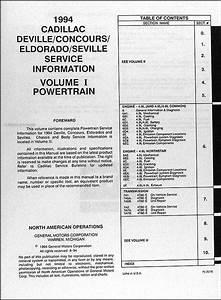 1994 Cadillac Repair Shop Manual Original Deville Concours
