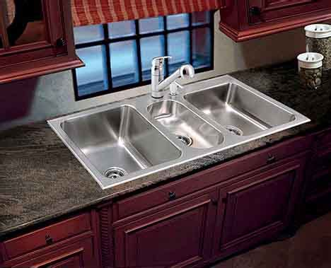 triple bowl kitchen sinks stainless steel sinks  faucets