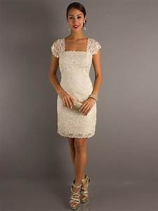 vintage square neckline capped sleeves knee length lace With wedding guest dresses lace