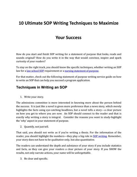 sop writing techniques   pros  sop writing issuu