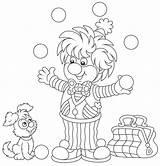 Balls Juggler Clown Juggling Funny Playing Circus Coloring Vector Illustration sketch template