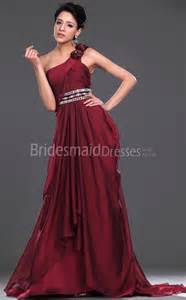 burgundy bridesmaid dresses 100 a line burgundy chiffon one shoulder floor length with beading bridesmaid dresses ukbd03 442