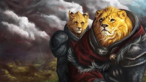 digital art furry lions wallpaper