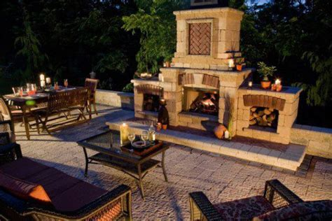 Stonehenge paver patio with outdoor fireplace by Unilock