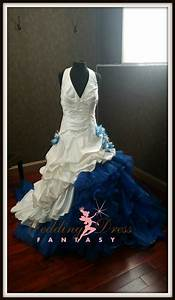 dip dye white and blue wedding dress With dip dye wedding dress