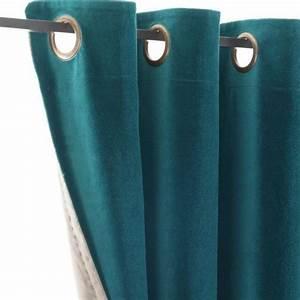 Double Rideau Bleu : rideau velours bleu canard d coration maison ~ Teatrodelosmanantiales.com Idées de Décoration