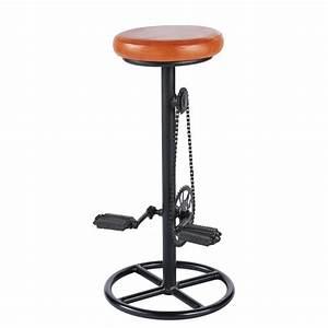 Tabouret De Bar Metal : tabouret de bar indus en cuir cognac et m tal noir bike ~ Dode.kayakingforconservation.com Idées de Décoration