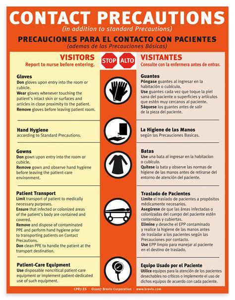 contact precautions english spanish plastic laminated