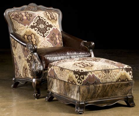 south western style luxury furniture chair and ottoman