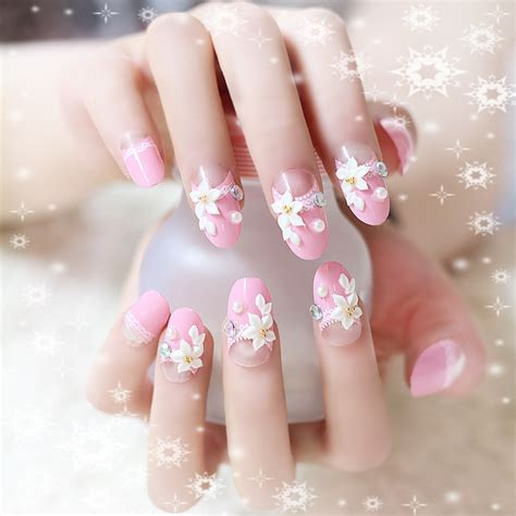 24pcs pink nails decoration false ongle nails tips flower pearl decal manicure diy