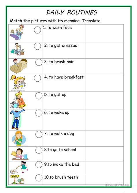 daily routines  worksheet  esl printable worksheets