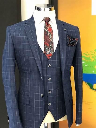 Suit Navy Plaid Slim Vest Suits Gentwith