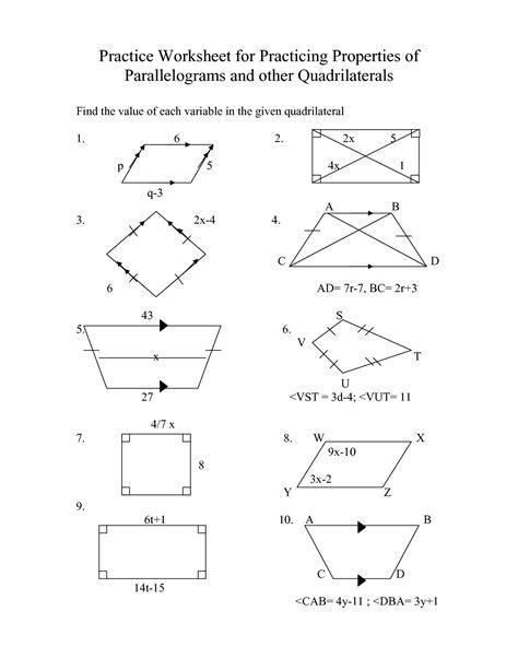 properties  parallelograms worksheet  myscres