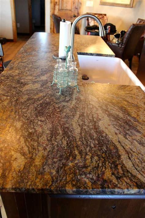 blue fire leathered granite   chiseled edge kitchen