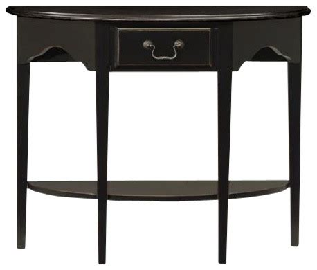 leick mission hall console table slate black leick furniture demilune console table in slate black