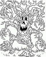 Coloring Monster Tree Scary Walking Around sketch template
