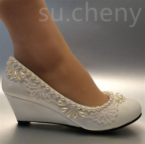 wedges wedding shoes 2 wedge lace drop pearls white light light ivory wedding 1239