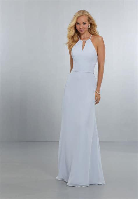chiffon bridesmaids dress with draped sweetheart bodice
