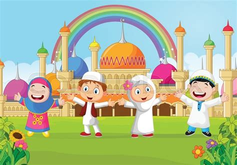 anak fn vector illustration of kid with the mosque