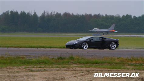 Aventador Vs F-16 Drag Race