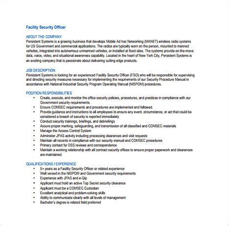 Officer Description Template Tips To Write Your Security Officer Resume