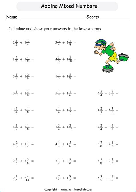 addition   mixed numbers class  math worksheet
