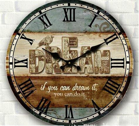 34 wooden wall clocks to 34cm vintage rustic large circular digital wood wall clock