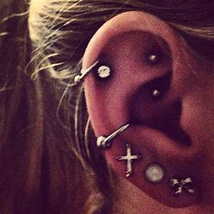 conch, rook, and double helix piercings   earings ...