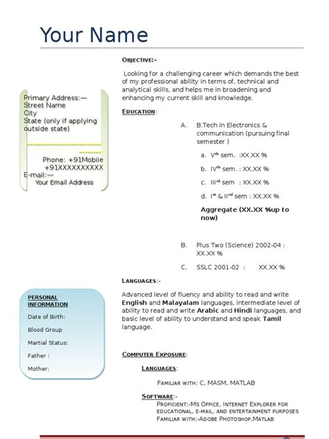 Telecom Engineer Resume Fresher by Resume Electronics And Telecom Engineer Fresher R 233 Sum 233 Email