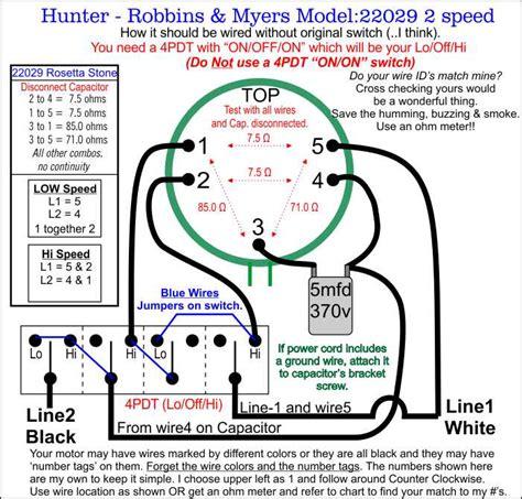 5 wire fan switch hunter robbins myers floor fan model 22029 wiring